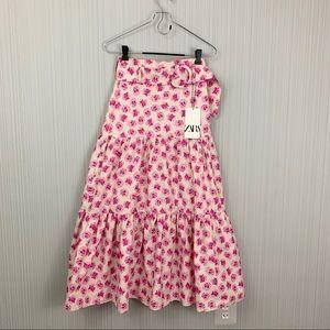 Zara Pink Floral Belted Midi Skirt